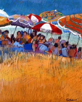 beach scene by john sutherst