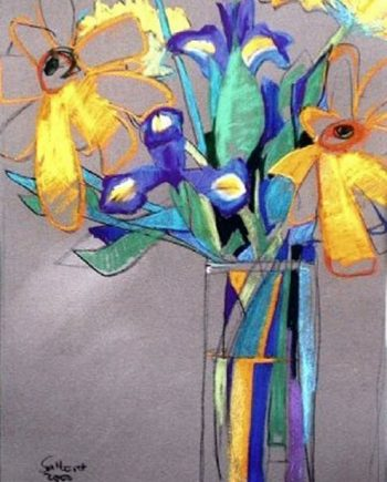 irises and daisies by john sutherst