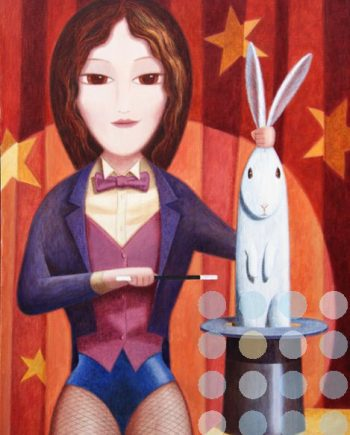 magician with rabbit by martin jones