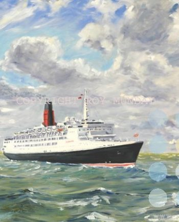 qe 2 entering the river mersey 2008 by roy munday