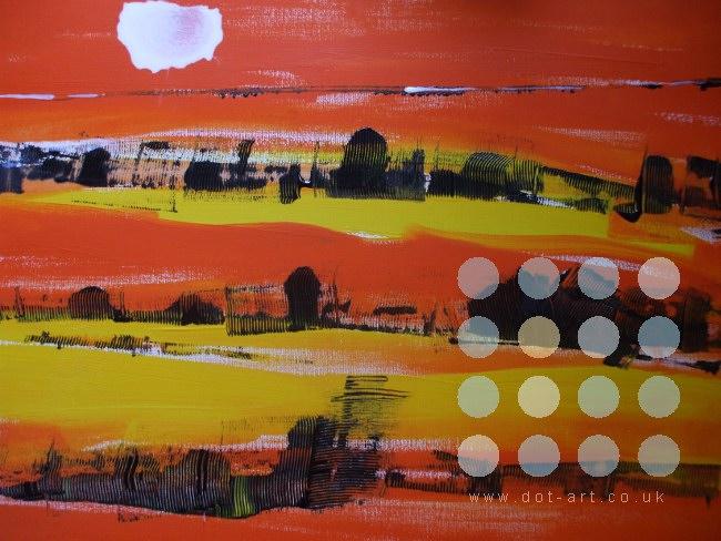 Red Landscape Dot Art