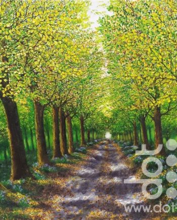 spring tree lined walk by hazel thomson