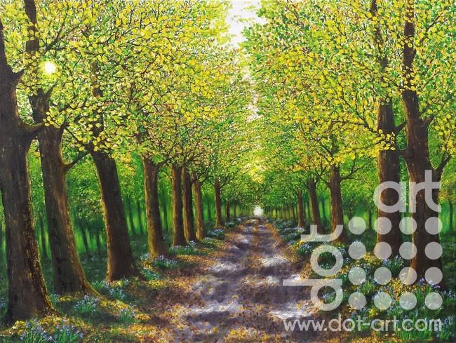 spring tree lined walk by hazel thomson