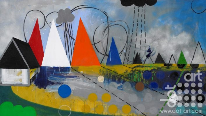 LANDSCAPE NOON (after The Hay Wain by Constable). Acrylic paint spray paint and charcoal on canvas. 90x160cm. £2510