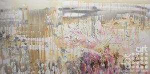 Fake Nature Water garden (2016) Oil, Acrylic, Spray paint on canvas 100 x 200 cm £1750