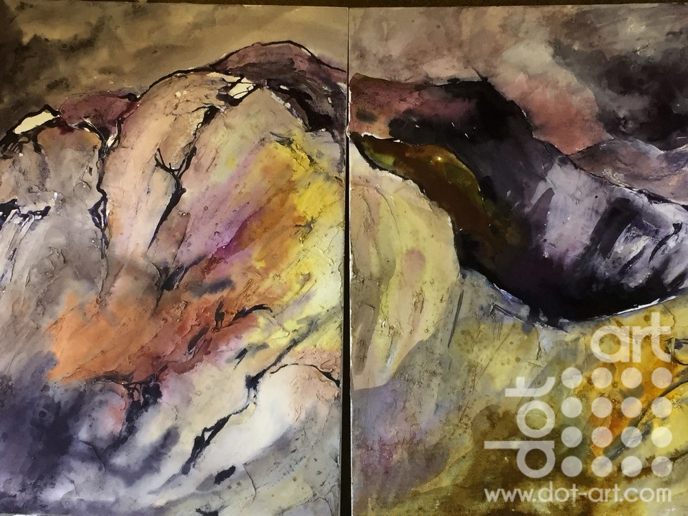 Snowdonia views Diptych Acrylic Mixed Media on boarded wood canvas block 80x 50 £450