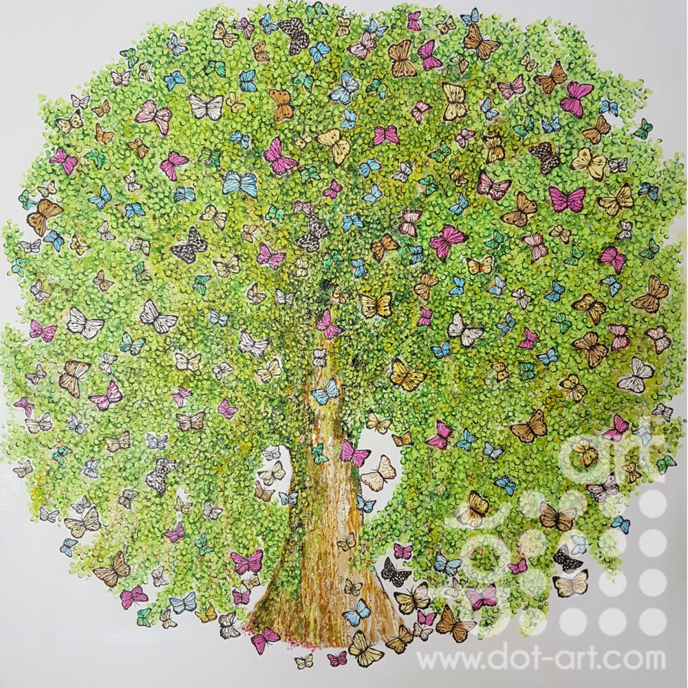 Butterfly Tree Dot Art