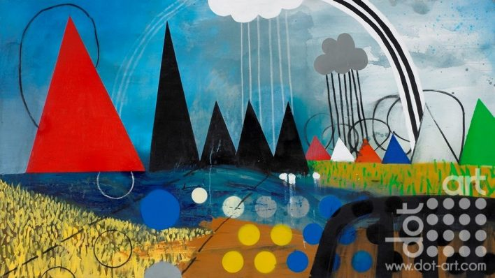 UPLAND (After Salisbury cathedral From The Meadows). Acrylic paint spray paint and charcoal on canvas. 90x160cm. 2017. £2600