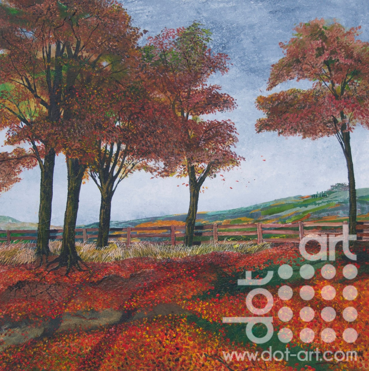 5 Autumn Trees Dot Art