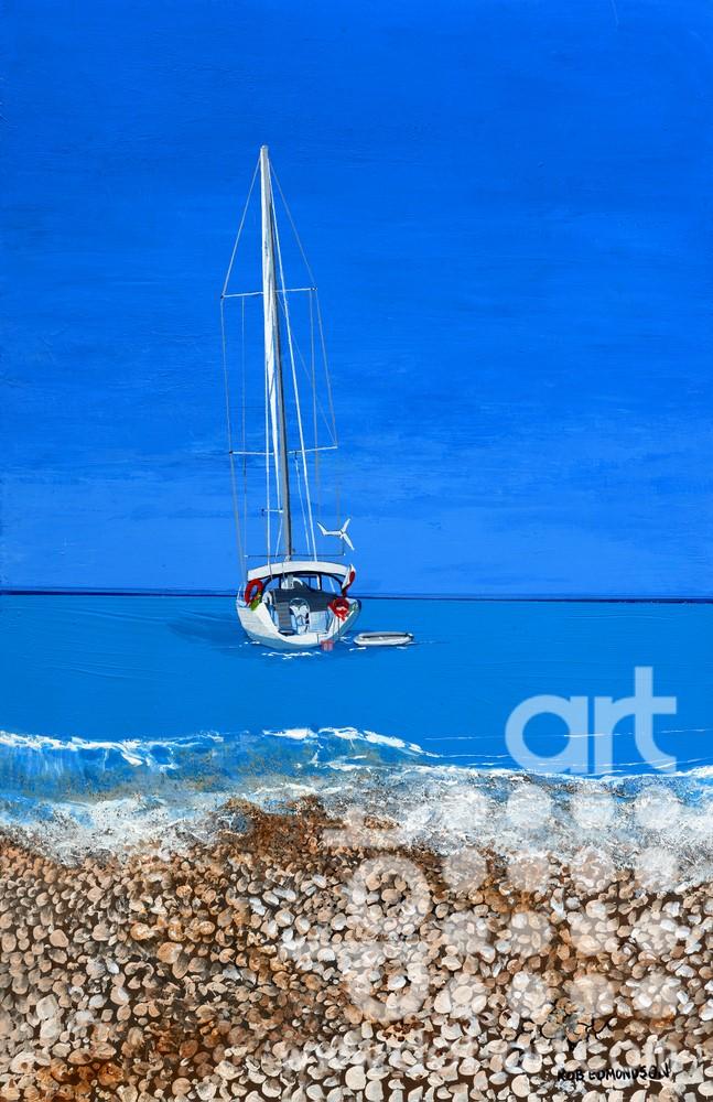 Myrtos Yacht by rob edmondson
