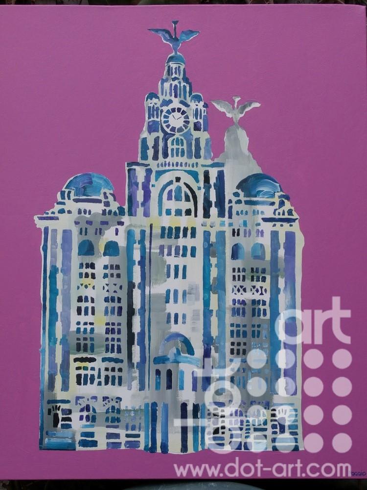 Liver Building on Pink by Linda Poggio