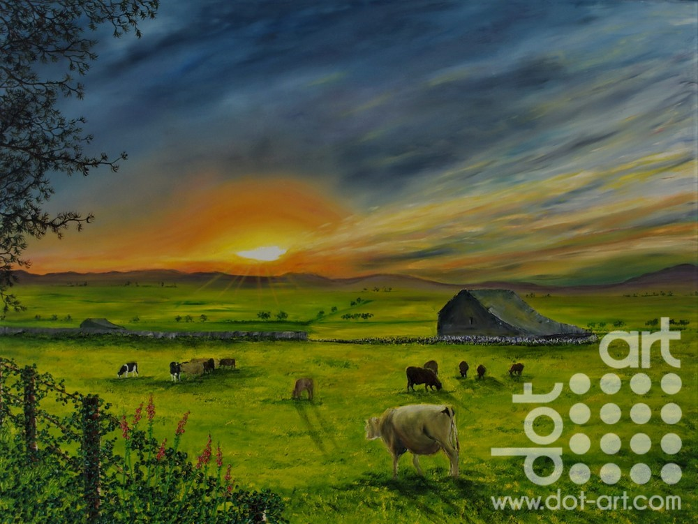 Sunset Over the Fields of Gwyndd by Hazel Thomson