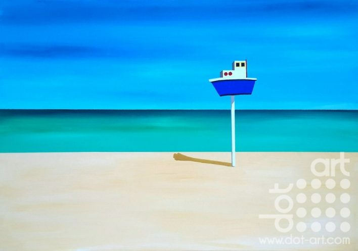 Deauville Beach – Boat on Pole by Steve Bayley