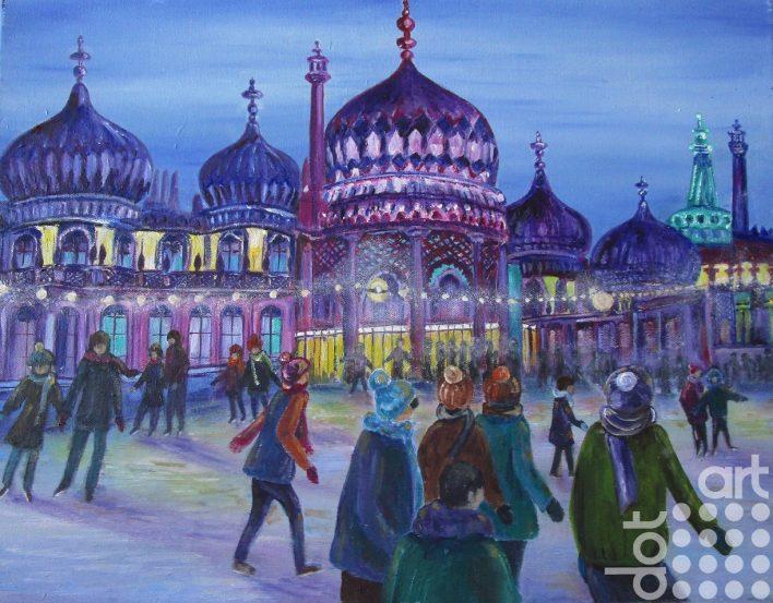 Night Skating Brighton 45×35 Oil
