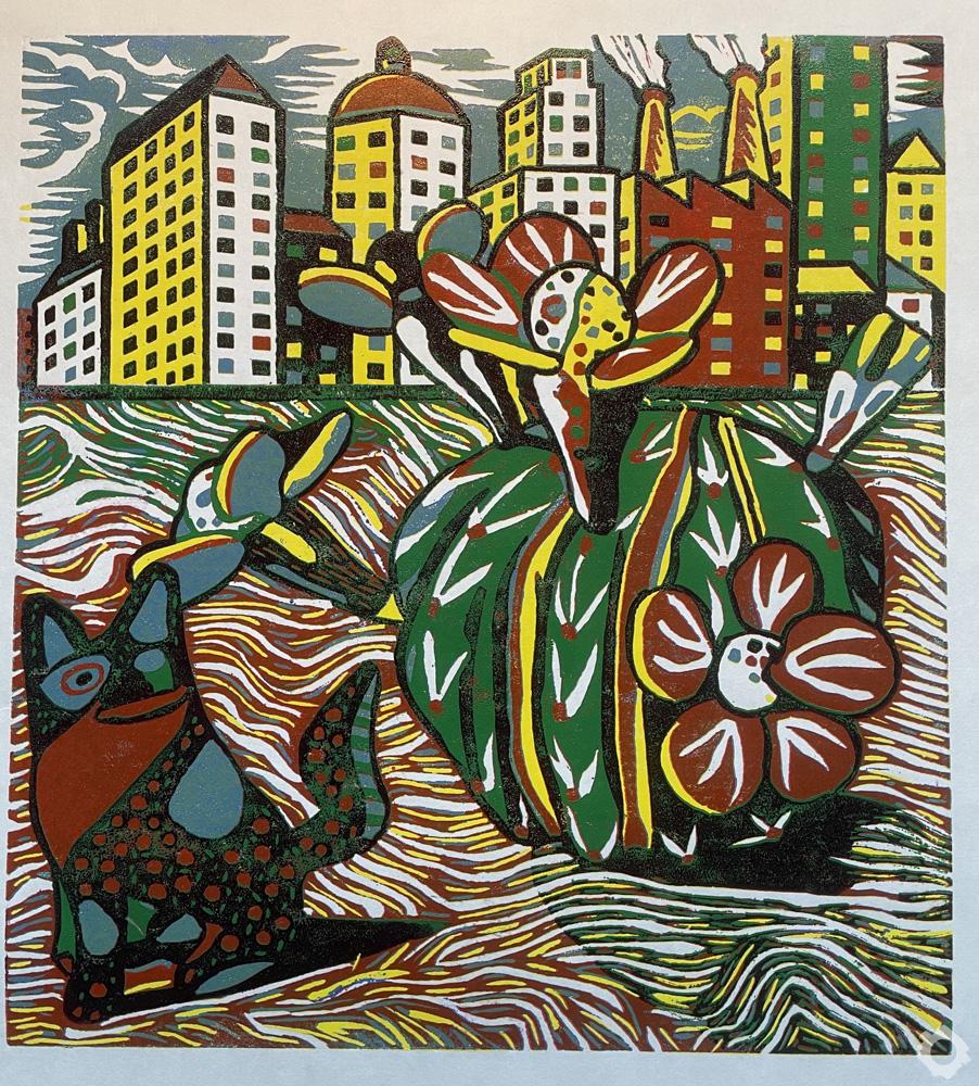 Oaxaca Dog & Cactus No1-Vincent-Kelly